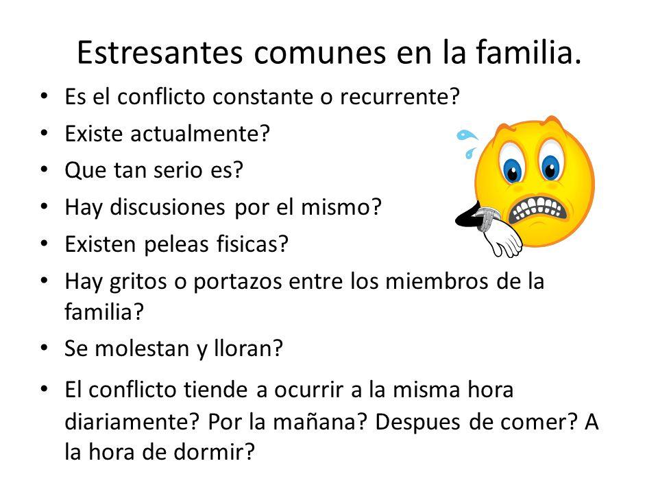 Estresantes comunes en la familia. Es el conflicto constante o recurrente? Existe actualmente? Que tan serio es? Hay discusiones por el mismo? Existen