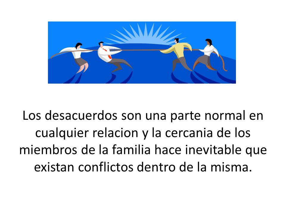 Los desacuerdos son una parte normal en cualquier relacion y la cercania de los miembros de la familia hace inevitable que existan conflictos dentro d