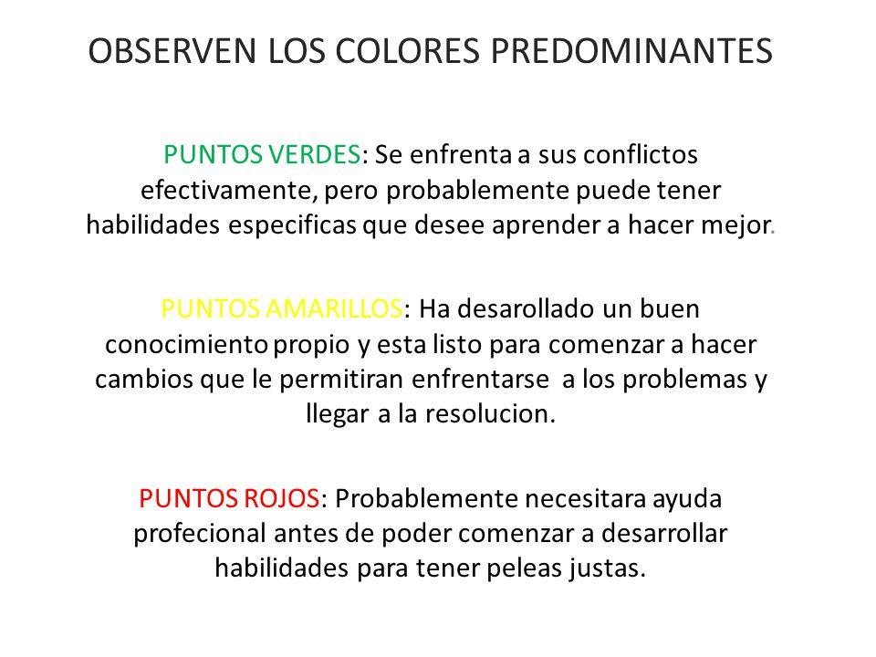 OBSERVEN LOS COLORES PREDOMINANTES PUNTOS VERDES: Se enfrenta a sus conflictos efectivamente, pero probablemente puede tener habilidades especificas q