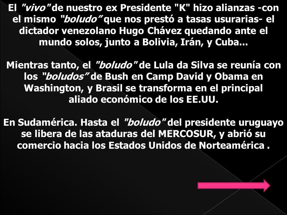 El vivo de nuestro ex Presidente K hizo alianzas -con el mismo boludo que nos prestó a tasas usurarias- el dictador venezolano Hugo Chávez quedando ante el mundo solos, junto a Bolivia, Irán, y Cuba...