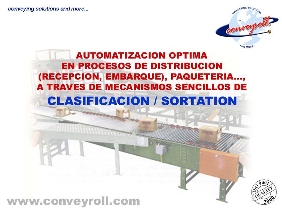 Equipo y/o mecanismo que se utiliza para automatizar los procesos de distribución y producción por el método de clasificación automática y/o mecánica de los productos, para enviarlos a sus puntos requeridos (andenes, líneas de producción, etc.).