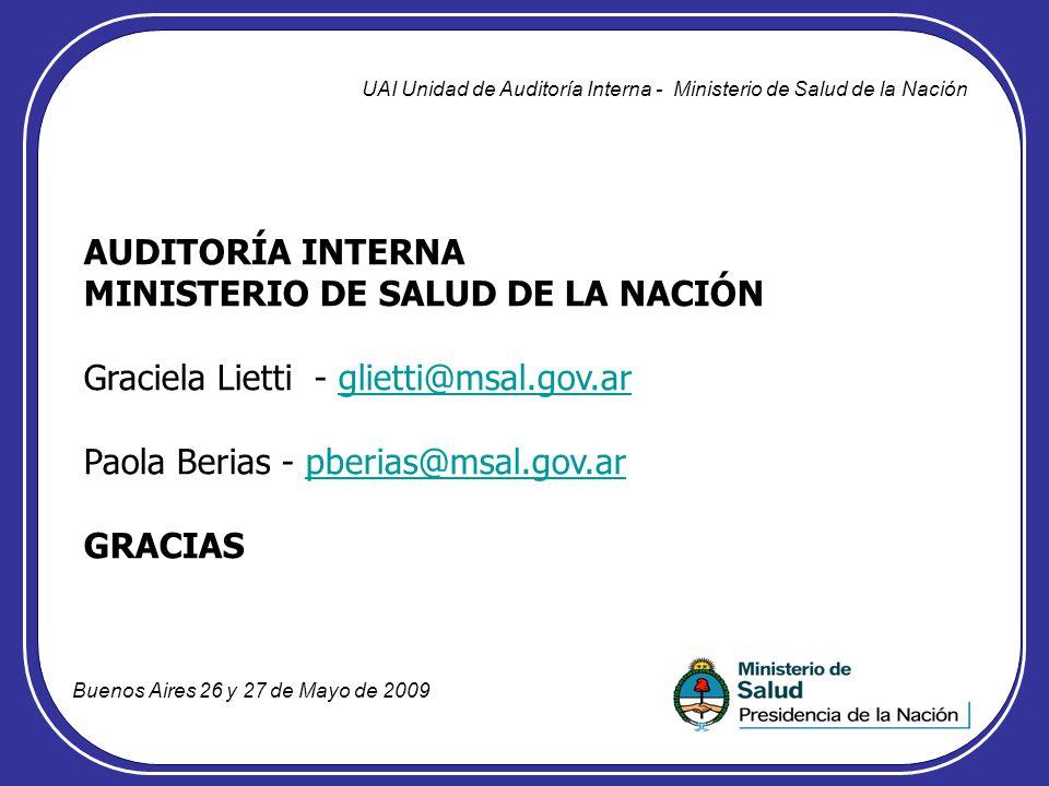 AUDITORÍA INTERNA MINISTERIO DE SALUD DE LA NACIÓN Graciela Lietti - glietti@msal.gov.arglietti@msal.gov.ar Paola Berias - pberias@msal.gov.arpberias@
