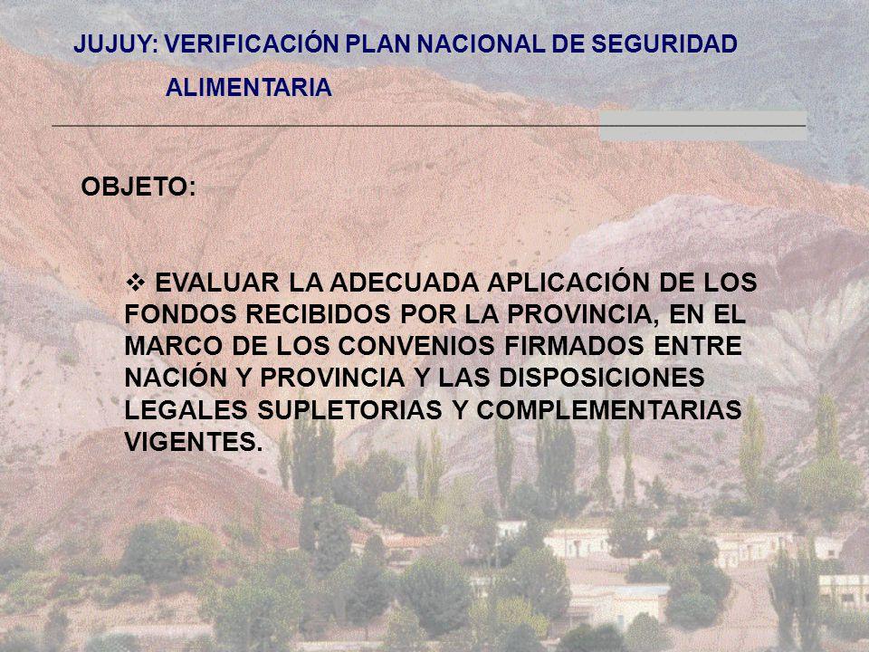 JUJUY: VERIFICACIÓN PLAN NACIONAL DE SEGURIDAD ALIMENTARIA ALIMENTARIA OBJETO: EVALUAR LA ADECUADA APLICACIÓN DE LOS FONDOS RECIBIDOS POR LA PROVINCIA, EN EL MARCO DE LOS CONVENIOS FIRMADOS ENTRE NACIÓN Y PROVINCIA Y LAS DISPOSICIONES LEGALES SUPLETORIAS Y COMPLEMENTARIAS VIGENTES.