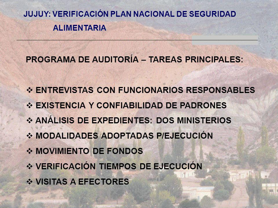 JUJUY: VERIFICACIÓN PLAN NACIONAL DE SEGURIDAD ALIMENTARIA ALIMENTARIA PROGRAMA DE AUDITORÍA – TAREAS PRINCIPALES: ENTREVISTAS CON FUNCIONARIOS RESPONSABLES EXISTENCIA Y CONFIABILIDAD DE PADRONES ANÁLISIS DE EXPEDIENTES: DOS MINISTERIOS MODALIDADES ADOPTADAS P/EJECUCIÓN MOVIMIENTO DE FONDOS VERIFICACIÓN TIEMPOS DE EJECUCIÓN VISITAS A EFECTORES