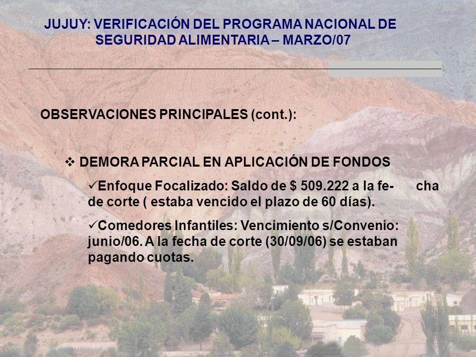 JUJUY: VERIFICACIÓN DEL PROGRAMA NACIONAL DE SEGURIDAD ALIMENTARIA – MARZO/07 OBSERVACIONES PRINCIPALES (cont.): DEMORA PARCIAL EN APLICACIÓN DE FONDOS Enfoque Focalizado: Saldo de $ 509.222 a la fe- cha de corte ( estaba vencido el plazo de 60 días).