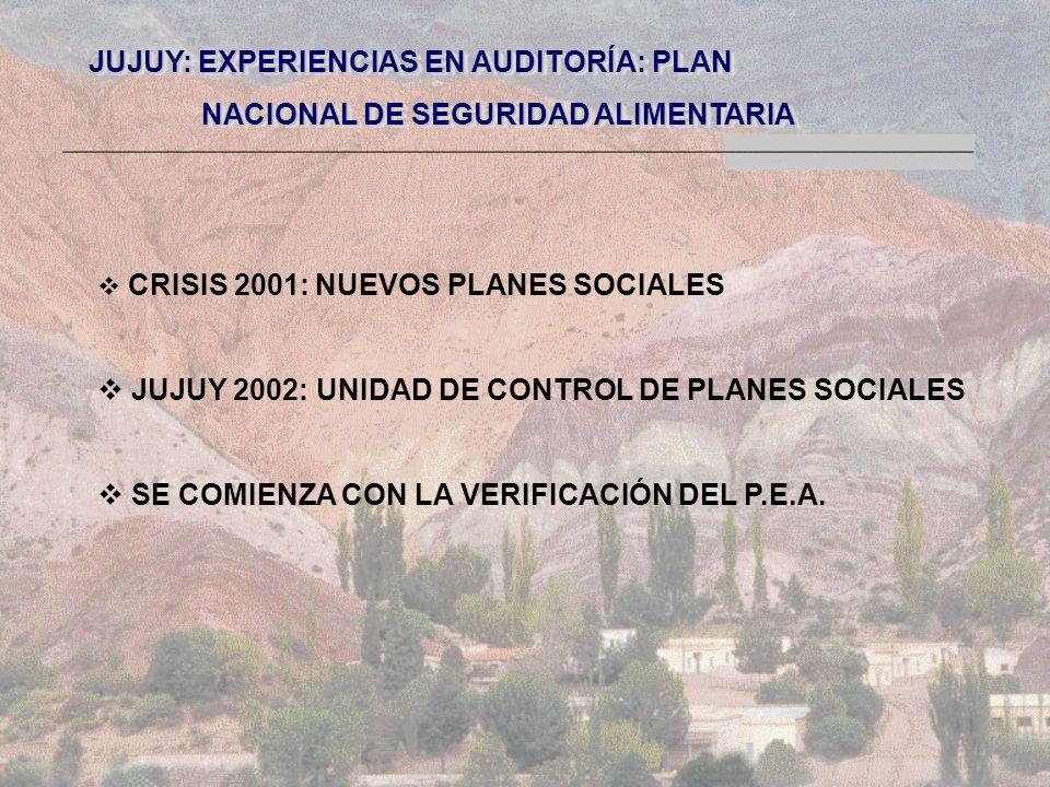 JUJUY: EXPERIENCIAS EN AUDITORÍA: PLAN NACIONAL DE SEGURIDAD ALIMENTARIA NACIONAL DE SEGURIDAD ALIMENTARIA JUJUY: EXPERIENCIAS EN AUDITORÍA: PLAN NACIONAL DE SEGURIDAD ALIMENTARIA NACIONAL DE SEGURIDAD ALIMENTARIA CRISIS 2001: NUEVOS PLANES SOCIALES JUJUY 2002: UNIDAD DE CONTROL DE PLANES SOCIALES SE COMIENZA CON LA VERIFICACIÓN DEL P.E.A.