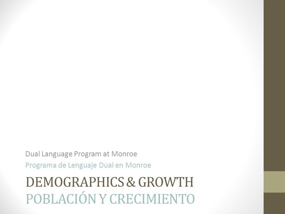 DEMOGRAPHICS & GROWTH POBLACIÓN Y CRECIMIENTO Dual Language Program at Monroe Programa de Lenguaje Dual en Monroe