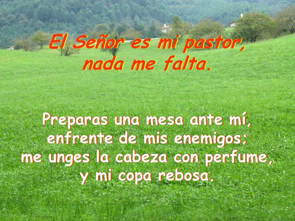 El Señor es mi pastor, nada me falta. El Señor es mi pastor, nada me falta. Me guía por el sendero justo, por el honor de su nombre. Aunque camine por