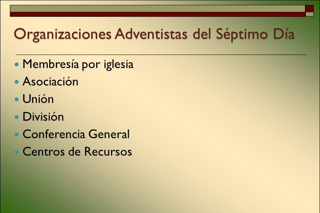 Organizaciones Adventistas del Séptimo Día Membresía por iglesia Asociación Unión División Conferencia General Centros de Recursos
