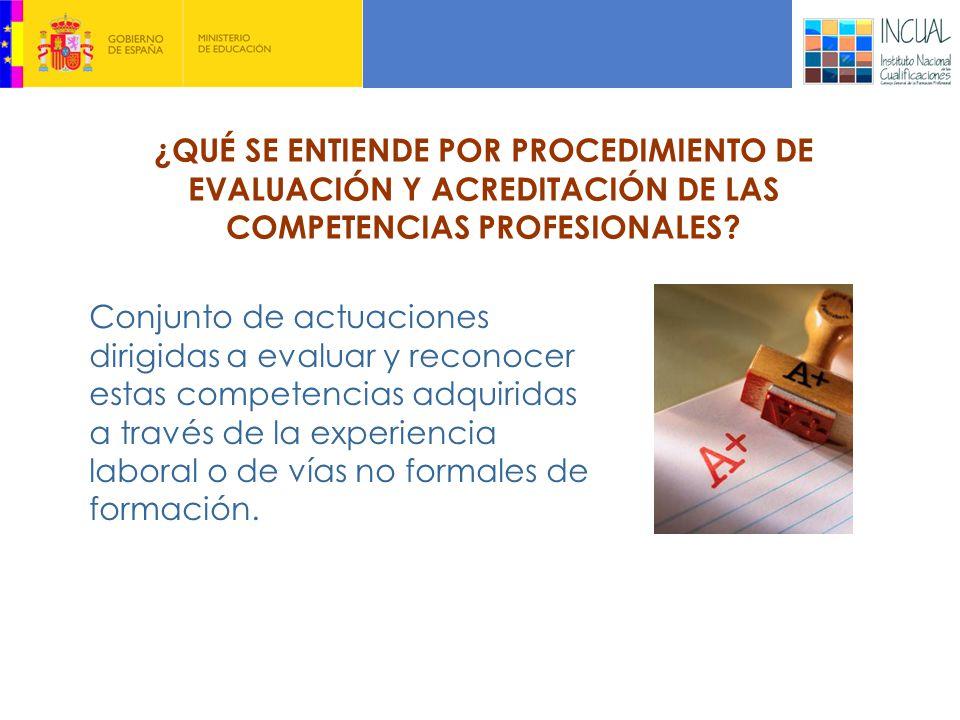 Conjunto de actuaciones dirigidas a evaluar y reconocer estas competencias adquiridas a través de la experiencia laboral o de vías no formales de formación.