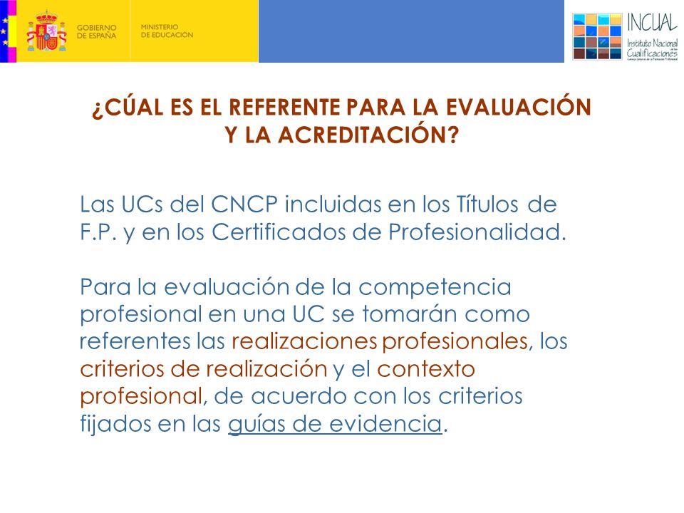 Las UCs del CNCP incluidas en los Títulos de F.P.y en los Certificados de Profesionalidad.