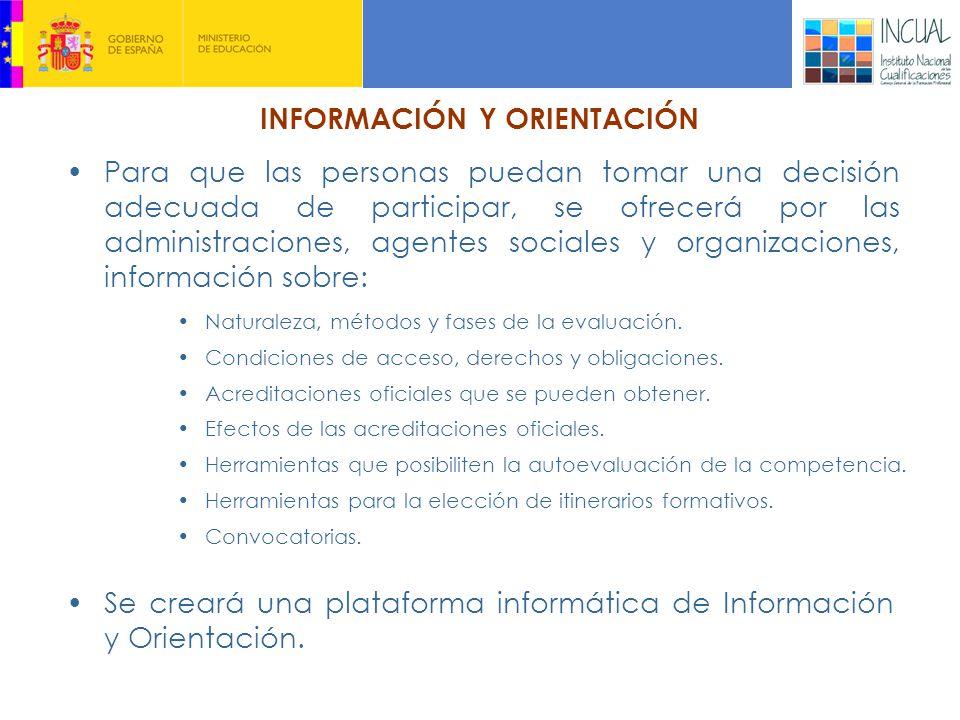 INFORMACIÓN Y ORIENTACIÓN Para que las personas puedan tomar una decisión adecuada de participar, se ofrecerá por las administraciones, agentes sociales y organizaciones, información sobre: Naturaleza, métodos y fases de la evaluación.