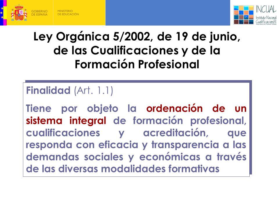 Ley Orgánica 5/2002, de 19 de junio, de las Cualificaciones y de la Formación Profesional Finalidad (Art.