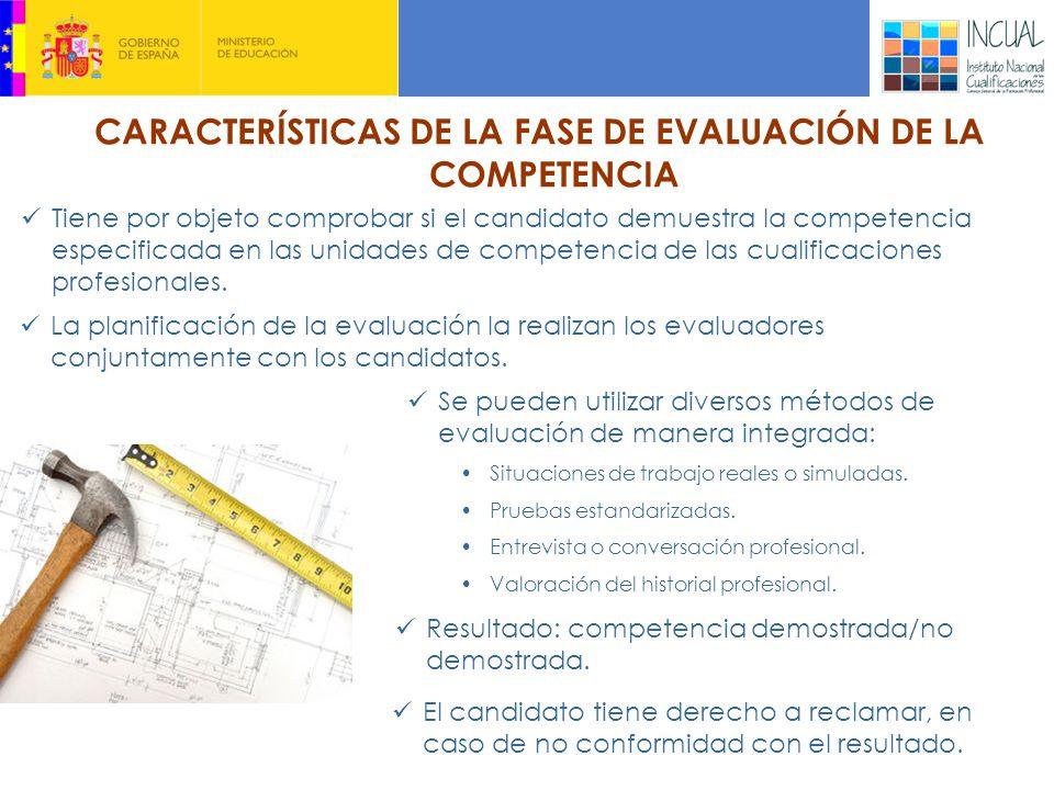 CARACTERÍSTICAS DE LA FASE DE EVALUACIÓN DE LA COMPETENCIA La planificación de la evaluación la realizan los evaluadores conjuntamente con los candidatos.