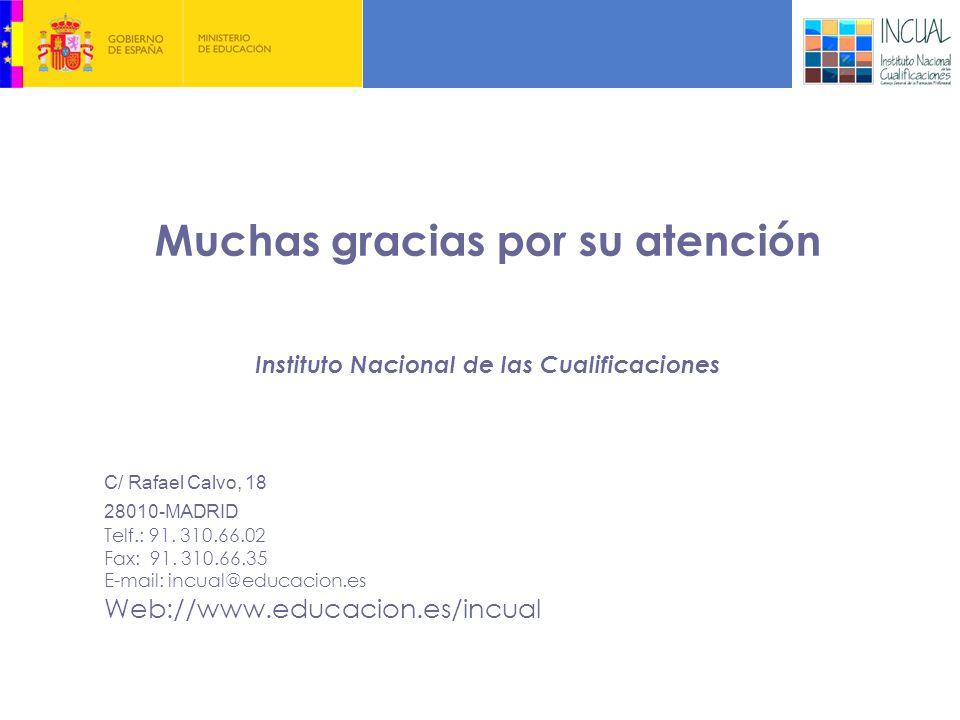 Muchas gracias por su atención Instituto Nacional de las Cualificaciones C/ Rafael Calvo, 18 28010-MADRID Telf.: 91.
