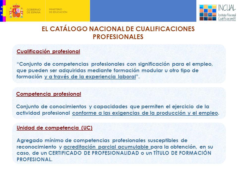 EL CATÁLOGO NACIONAL DE CUALIFICACIONES PROFESIONALES Cualificación profesional Conjunto de competencias profesionales con significación para el empleo, que pueden ser adquiridas mediante formación modular u otro tipo de formación y a través de la experiencia laboral.