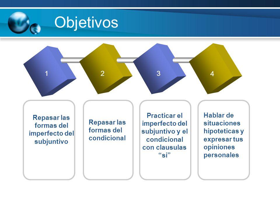 Objetivos 123 4 Repasar las formas del imperfecto del subjuntivo Practicar el imperfecto del subjuntivo y el condicional con clausulas si Repasar las formas del condicional Hablar de situaciones hipoteticas y expresar tus opiniones personales