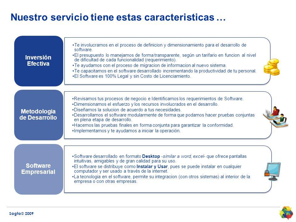 Sagta© 2009 Nuestro servicio tiene estas caracteristicas … Te involucramos en el proceso de definicion y dimensionamiento para el desarrollo de software.