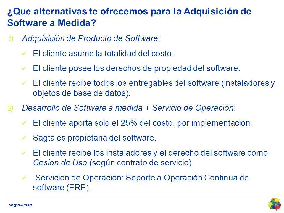 Sagta© 2009 ¿Que alternativas te ofrecemos para la Adquisición de Software a Medida? 1) Adquisición de Producto de Software: El cliente asume la total