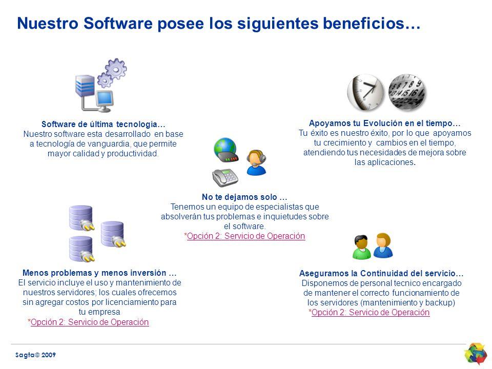 Sagta© 2009 Nuestro Software posee los siguientes beneficios… No te dejamos solo … Tenemos un equipo de especialistas que absolverán tus problemas e inquietudes sobre el software.