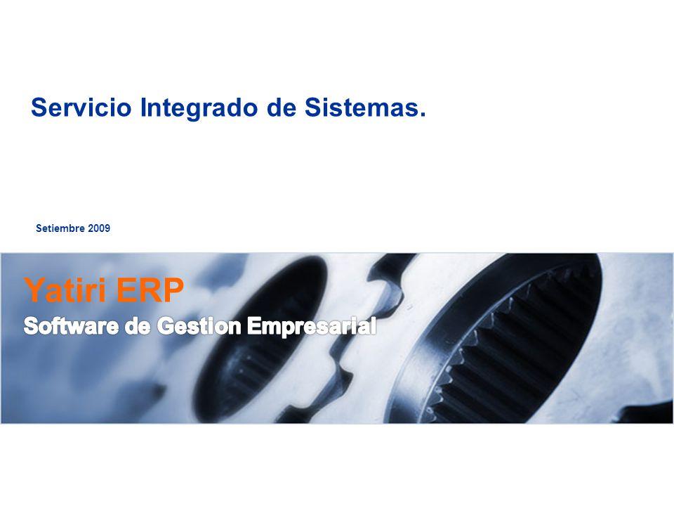 Setiembre 2009 Servicio Integrado de Sistemas.