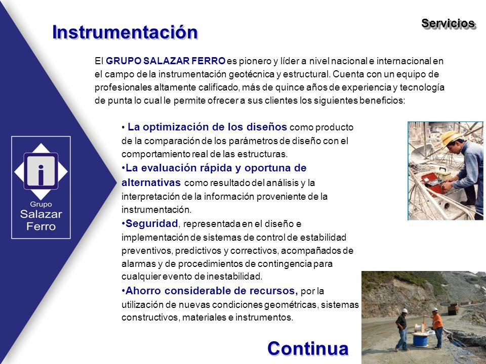 El GRUPO SALAZAR FERRO es pionero y líder a nivel nacional e internacional en el campo de la instrumentación geotécnica y estructural. Cuenta con un e