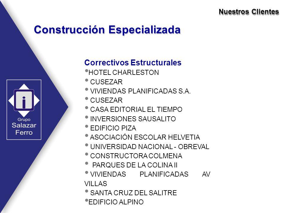 Nuestros Clientes Construcción Especializada Correctivos Estructurales HOTEL CHARLESTON CUSEZAR VIVIENDAS PLANIFICADAS S.A. CUSEZAR CASA EDITORIAL EL