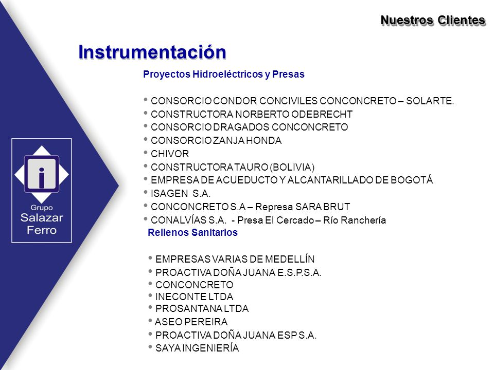 Instrumentación Nuestros Clientes Rellenos Sanitarios EMPRESAS VARIAS DE MEDELLÍN PROACTIVA DOÑA JUANA E.S.P.S.A. CONCONCRETO INECONTE LTDA PROSANTANA