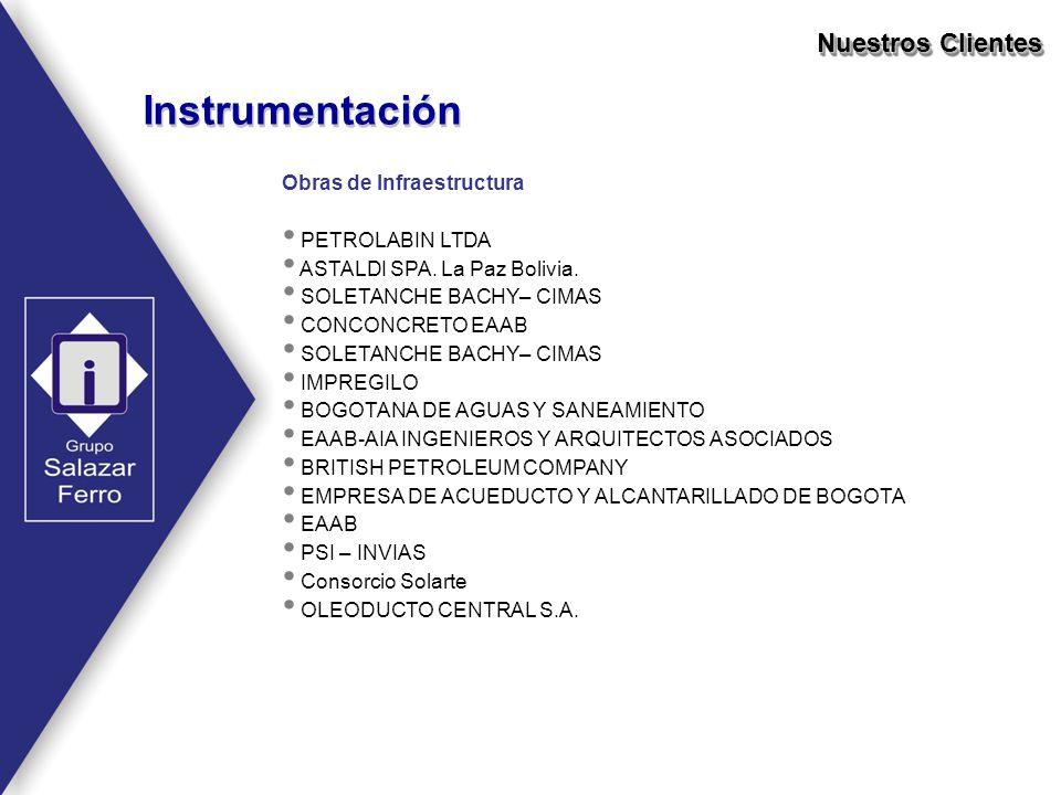 Obras de Infraestructura PETROLABIN LTDA ASTALDI SPA. La Paz Bolivia. SOLETANCHE BACHY– CIMAS CONCONCRETO EAAB SOLETANCHE BACHY– CIMAS IMPREGILO BOGOT