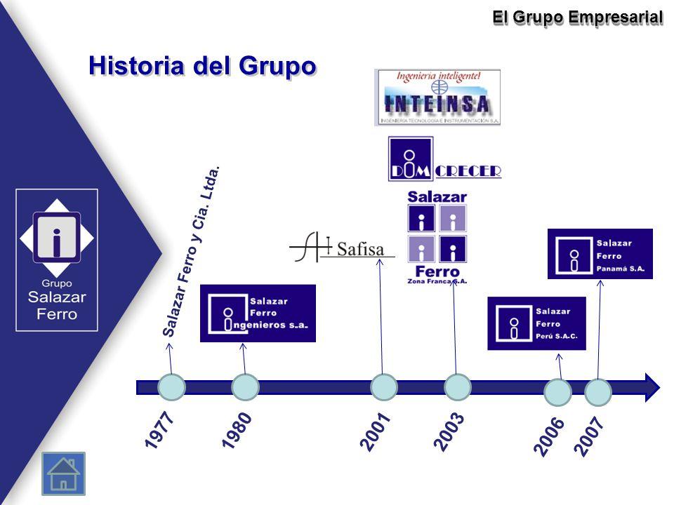 Historia del Grupo El Grupo Empresarial 19771980 2007 20012003 2006 Salazar Ferro y Cia. Ltda.