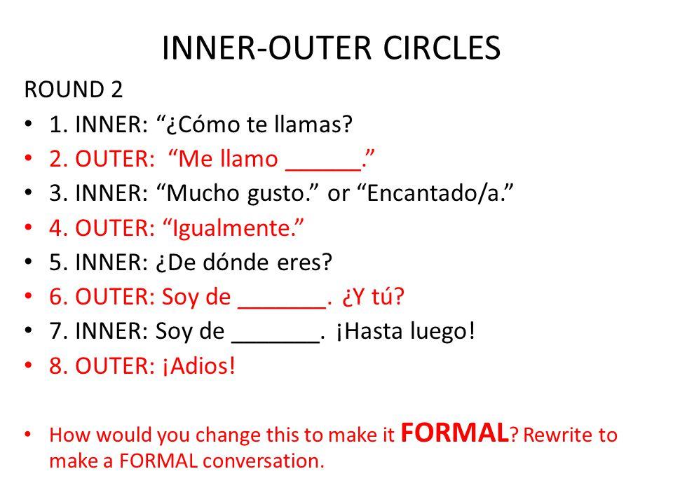 Conversación Formal 1.INNER: ¿Cómo te llamas. 2. OUTER: Me llamo ______.