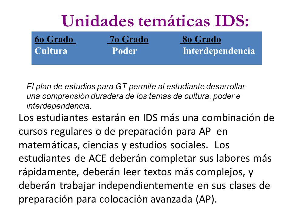 Unidades temáticas IDS: 6o Grado 7o Grado 8o Grado Cultura Poder Interdependencia El plan de estudios para GT permite al estudiante desarrollar una comprensión duradera de los temas de cultura, poder e interdependencia.