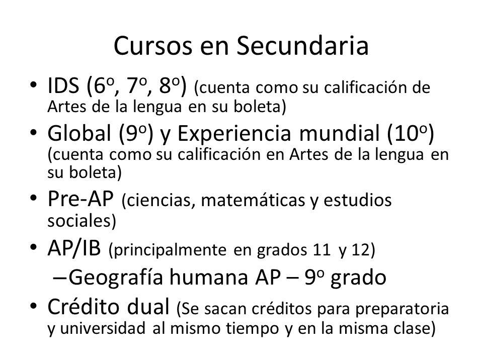 Cursos en Secundaria IDS (6 o, 7 o, 8 o ) (cuenta como su calificación de Artes de la lengua en su boleta) Global (9 o ) y Experiencia mundial (10 o )