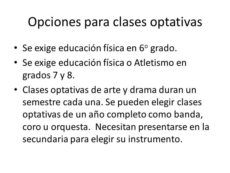 Opciones para clases optativas Se exige educación física en 6 o grado. Se exige educación física o Atletismo en grados 7 y 8. Clases optativas de arte