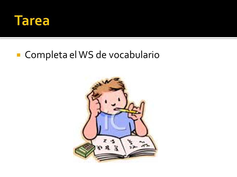 Completa el WS de vocabulario