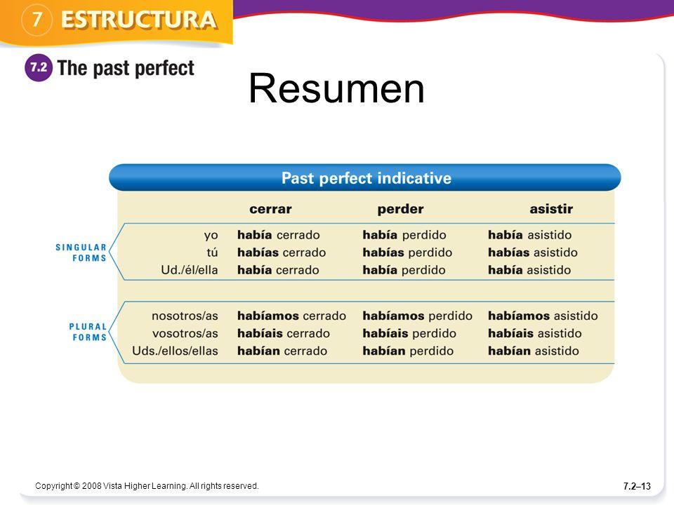 Resumen Copyright © 2008 Vista Higher Learning. All rights reserved. 7.2–13