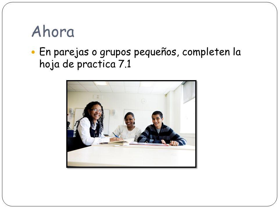 Ahora En parejas o grupos pequeños, completen la hoja de practica 7.1