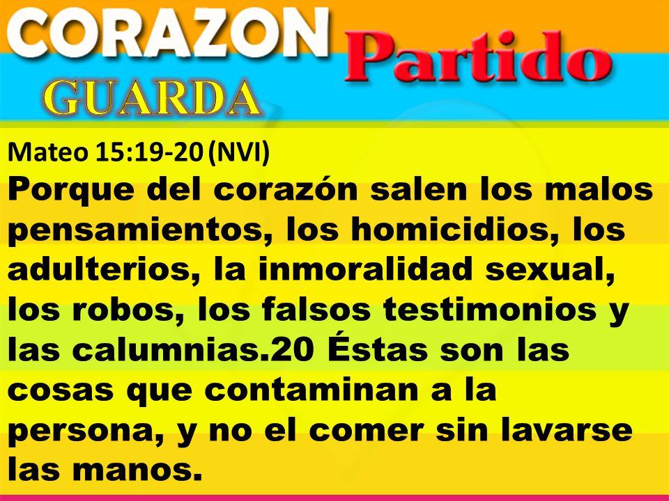 Mateo 15:19-20(NVI) Porque del corazón salen los malos pensamientos, los homicidios, los adulterios, la inmoralidad sexual, los robos, los falsos test