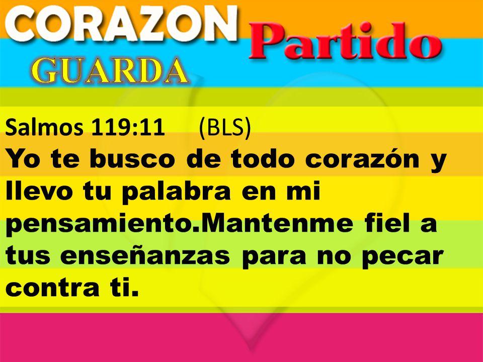Salmos 119:11(BLS) Yo te busco de todo corazón y llevo tu palabra en mi pensamiento.Mantenme fiel a tus enseñanzas para no pecar contra ti.