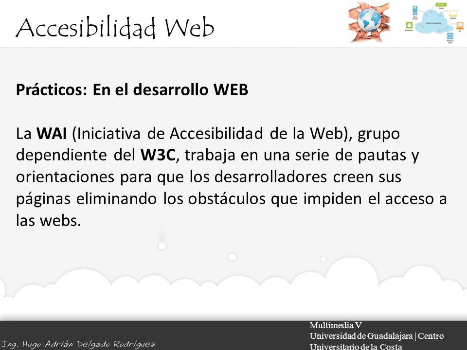 Accesibilidad Web Multimedia V Universidad de Guadalajara | Centro Universitario de la Costa Prácticos: En el desarrollo WEB La WAI (Iniciativa de Acc