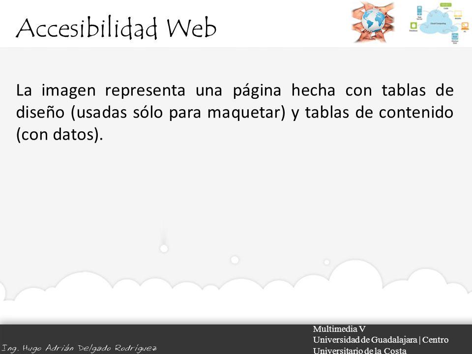 Accesibilidad Web Multimedia V Universidad de Guadalajara | Centro Universitario de la Costa La imagen representa una página hecha con tablas de diseñ