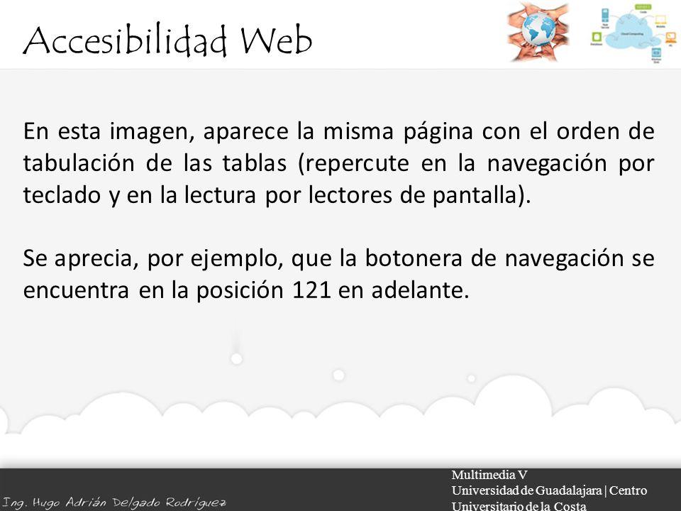 Accesibilidad Web Multimedia V Universidad de Guadalajara | Centro Universitario de la Costa En esta imagen, aparece la misma página con el orden de t