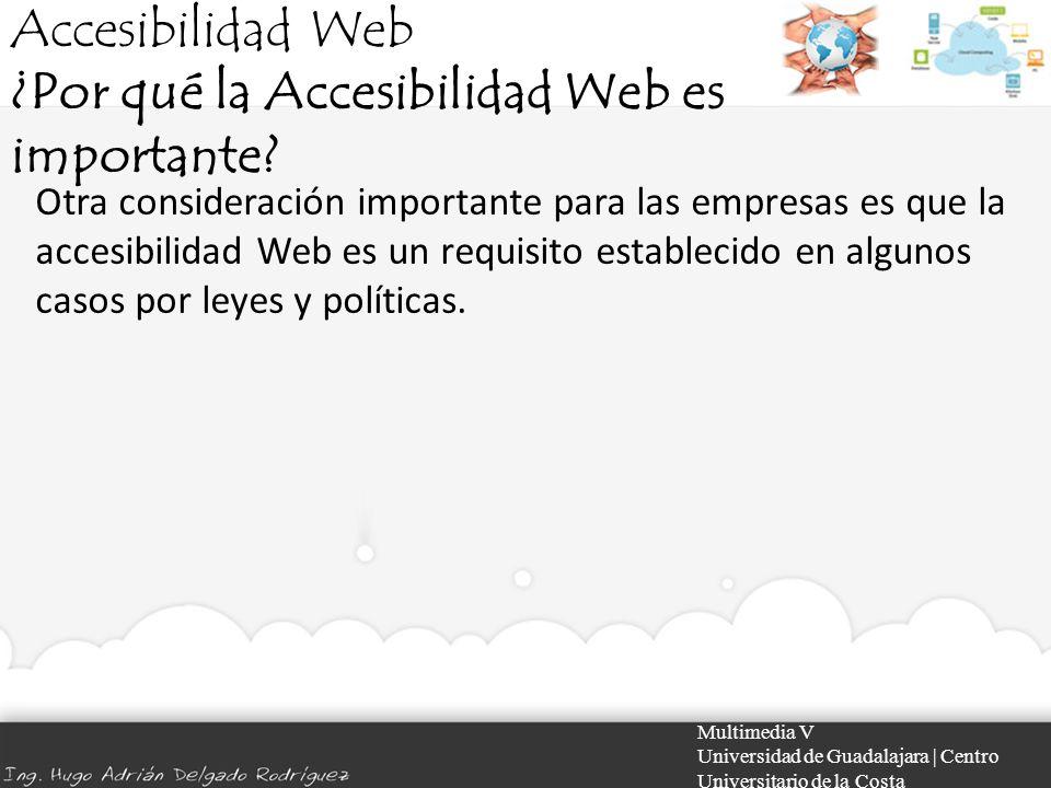 Accesibilidad Web ¿Por qué la Accesibilidad Web es importante? Multimedia V Universidad de Guadalajara | Centro Universitario de la Costa Otra conside