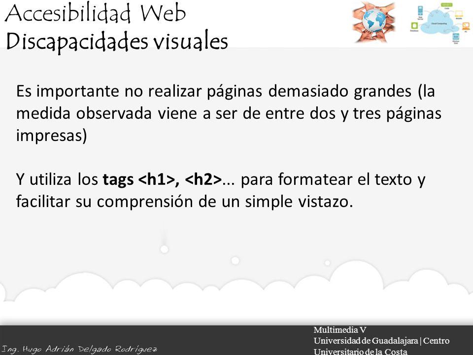 Accesibilidad Web Discapacidades visuales Multimedia V Universidad de Guadalajara | Centro Universitario de la Costa Es importante no realizar páginas