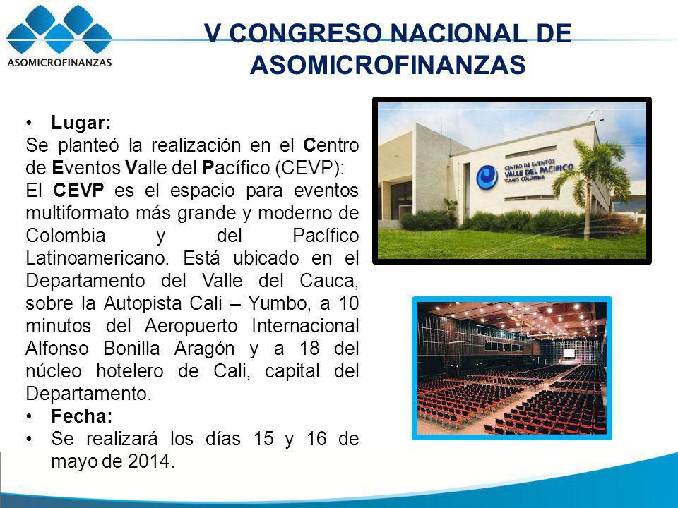 V CONGRESO NACIONAL DE ASOMICROFINANZAS Lugar: Se planteó la realización en el Centro de Eventos Valle del Pacífico (CEVP): El CEVP es el espacio para eventos multiformato más grande y moderno de Colombia y del Pacífico Latinoamericano.
