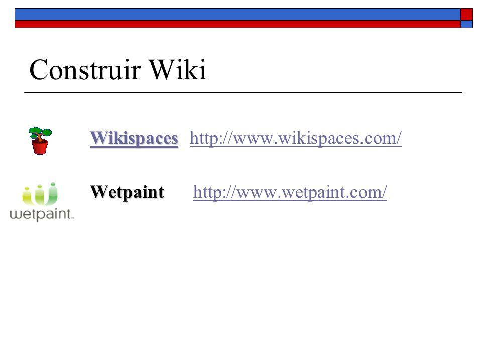 Construir Wiki WikispacesWikispaces Wikispaces http://www.wikispaces.com/Wikispaceshttp://www.wikispaces.com/ Wetpaint Wetpaint http://www.wetpaint.co