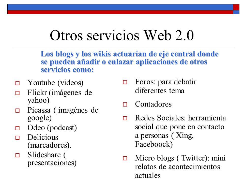 Otros servicios Web 2.0 Youtube (vídeos) Flickr (imágenes de yahoo) Picassa ( imagénes de google) Odeo (podcast) Delicious (marcadores). Slideshare (