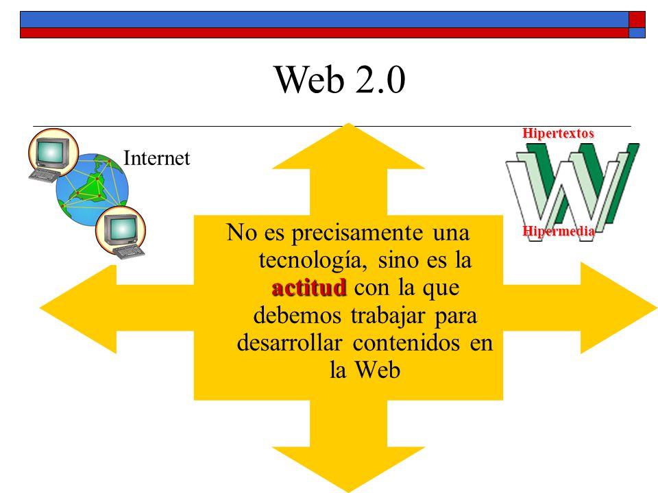 actitud No es precisamente una tecnología, sino es la actitud con la que debemos trabajar para desarrollar contenidos en la Web Web 2.0 Internet Hiper