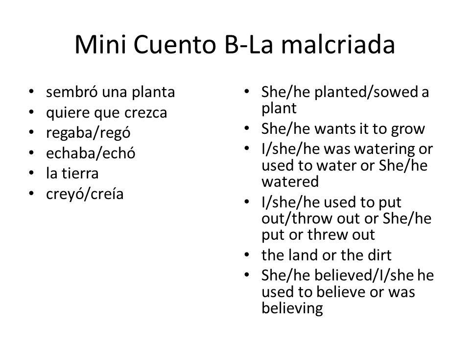 Mini Cuento B-La malcriada sembró una planta quiere que crezca regaba/regó echaba/echó la tierra creyó/creía She/he planted/sowed a plant She/he wants