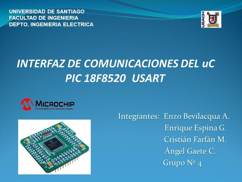 Módulo Transmisor Receptor Síncrono Asíncrono Universal (USART) El módulo Transmisor Receptor Síncrono Asíncrono Universal (USART), también conocido como Interfaz de Comunicación Serie (Serial Communications Interface, SCI) Es uno de los 2 tipos de módulos de E/S serie disponibles en los dispositivos PIC 18FXX20.
